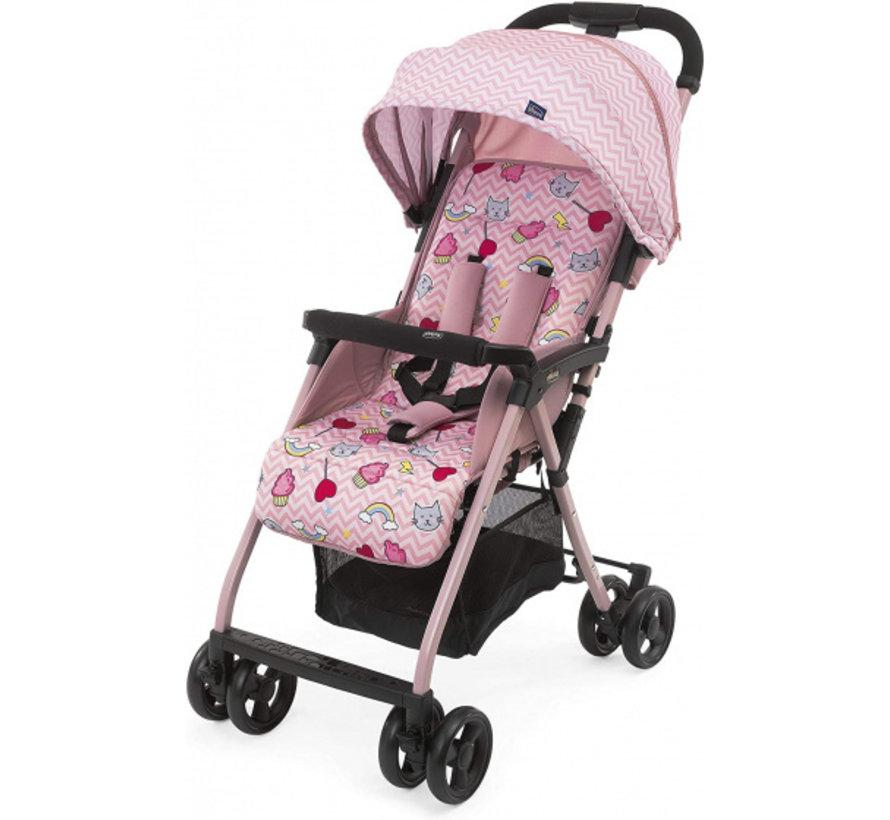 buggy Ohlala-3 Candy 101 cm polyester/aluminium roze