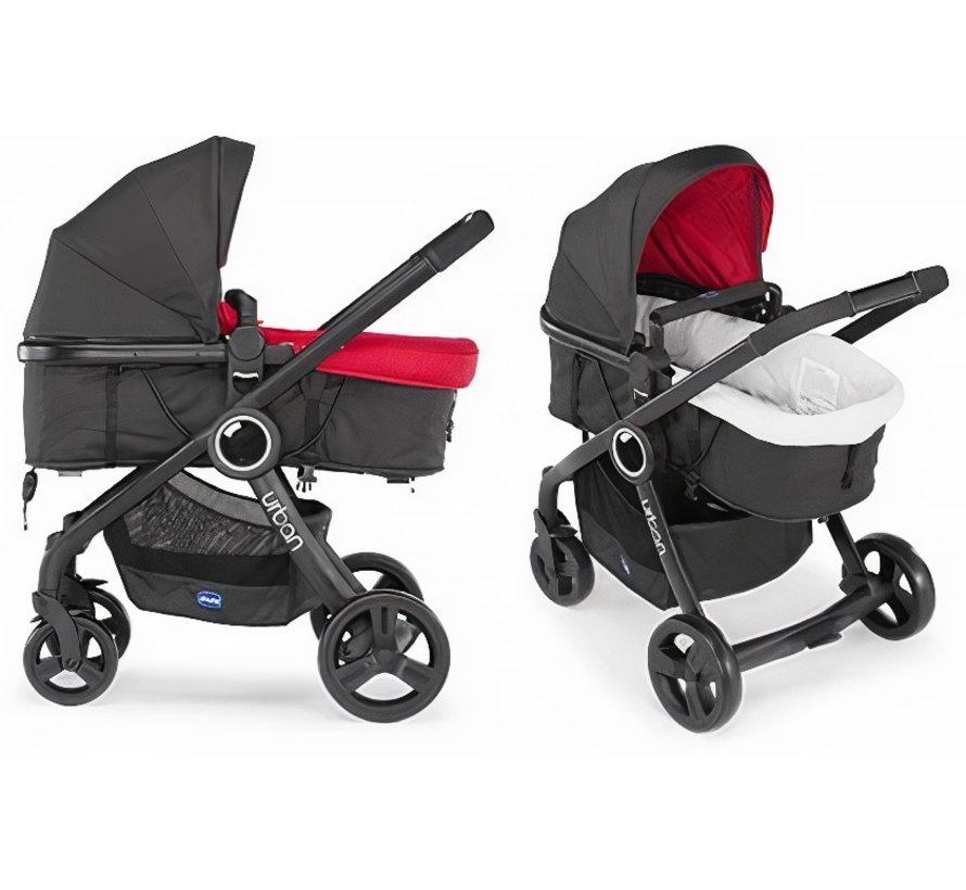 kinderwagen Urban Plus aluminium rood/zwart 9-delig