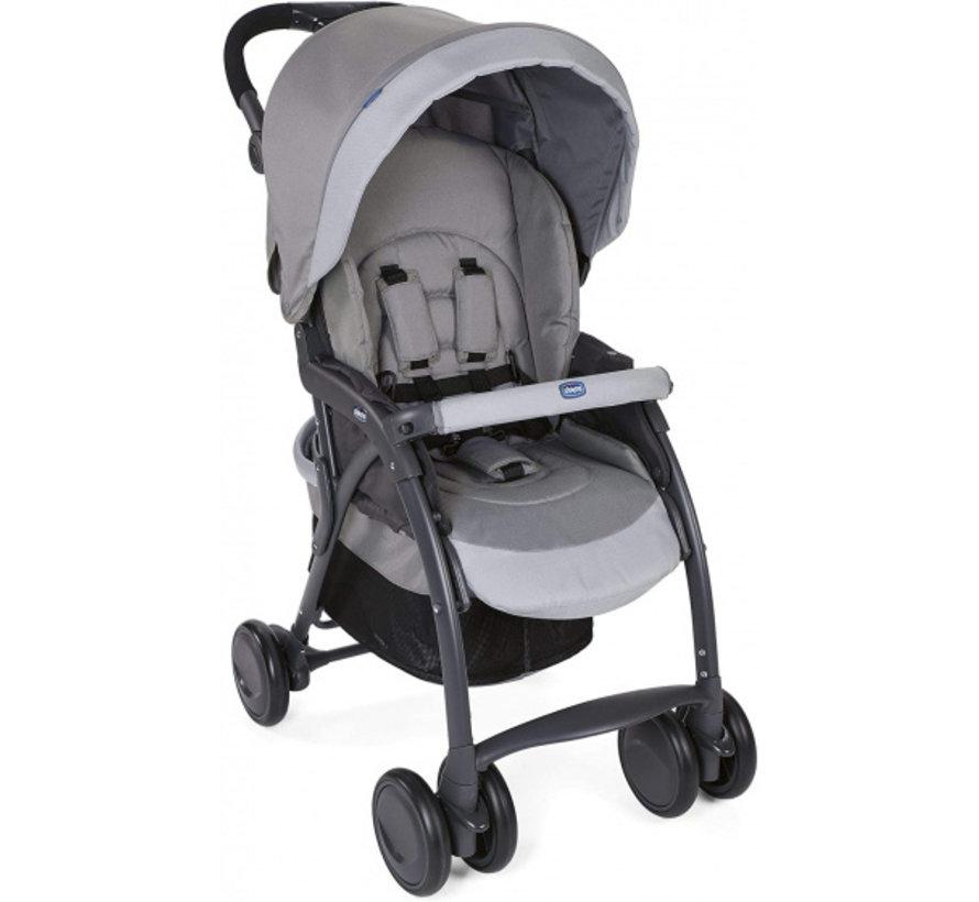 buggy Simplicity Top 102 cm polyester/aluminium grijs/zwart