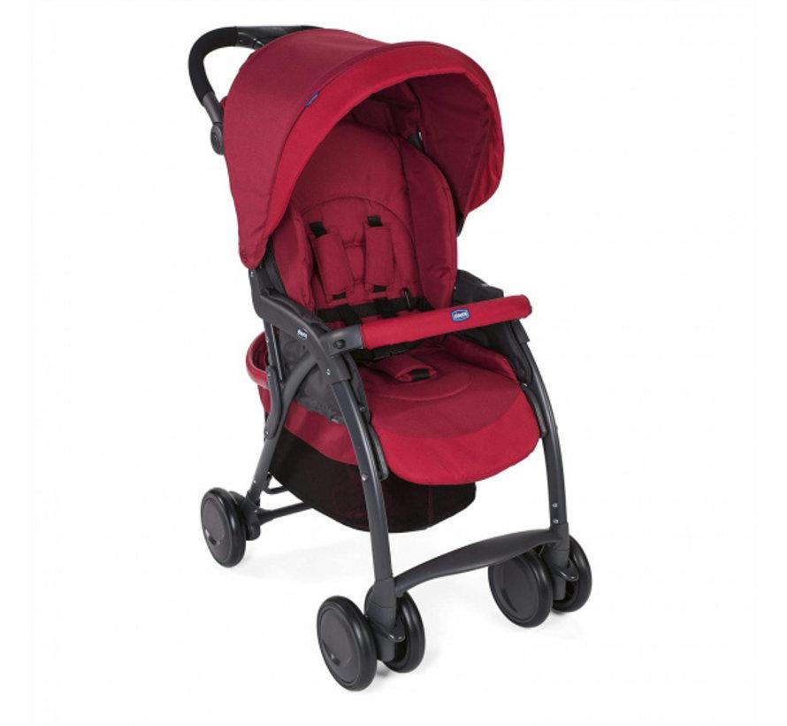 buggy Simplicity Top 102 cm polyester/aluminium rood/zwart