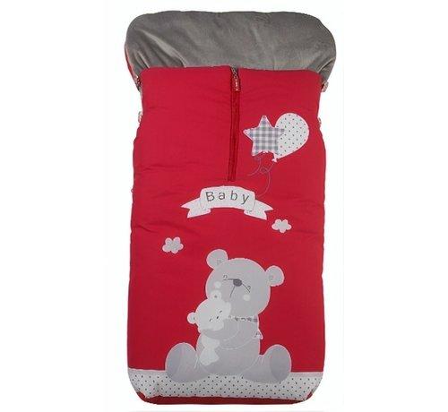 Gamberritos voetenzak Baby Bear 105 x 50 cm rood