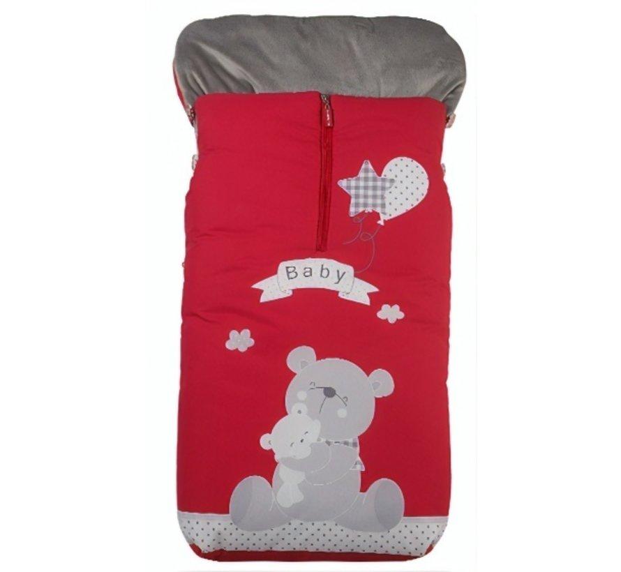 voetenzak Baby Bear 105 x 50 cm rood