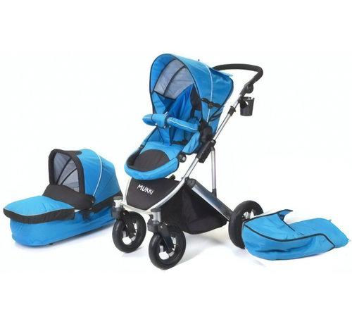 Mukki combi-kinderwagen Daily Transporter en reiswieg blauw