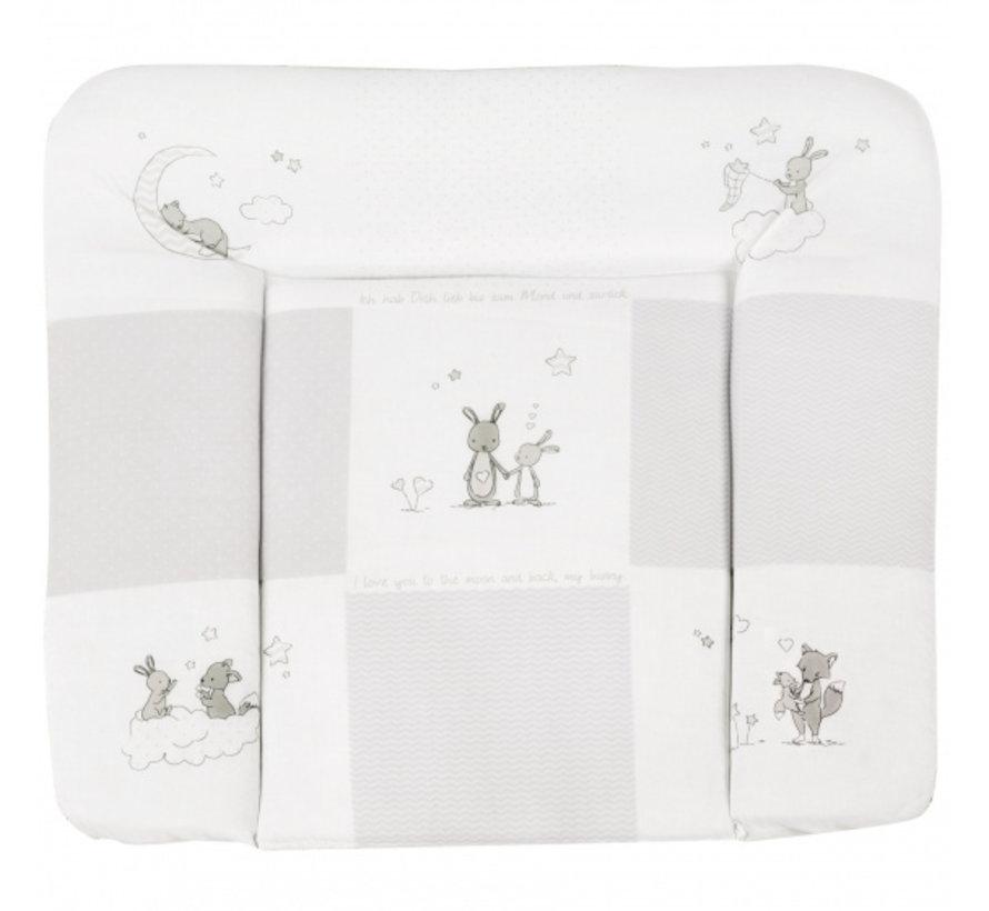 aankleedkussen Fox & Bunny 85 x 75 cm polykatoen grijs