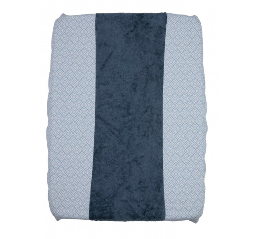 aankleedkussenhoes 70 cm katoen/bamboe blauw