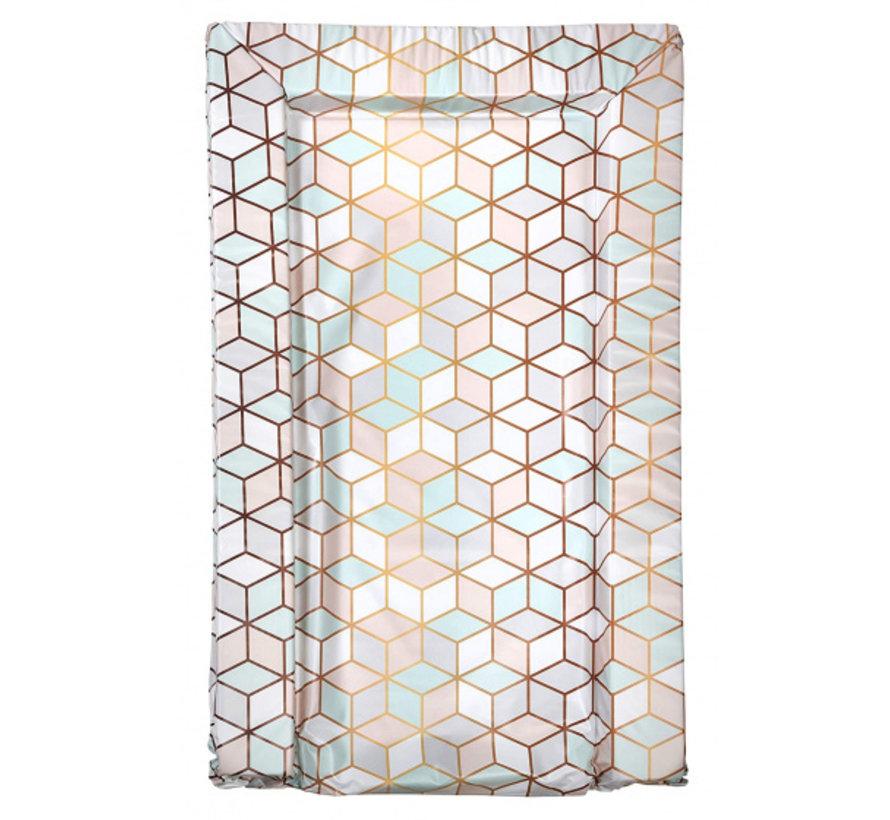 aankleedkussen geometrische print roze/mint/wit 75 cm
