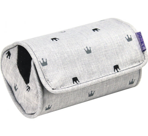 Dooky armkussen Crown 14 x 7 cm polyester lichtgrijs