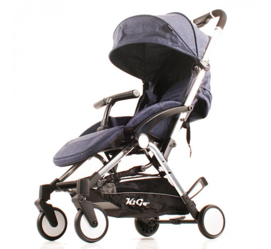 buggy K2 Go Plus 105 x 79 cm aluminium blauw/chroom