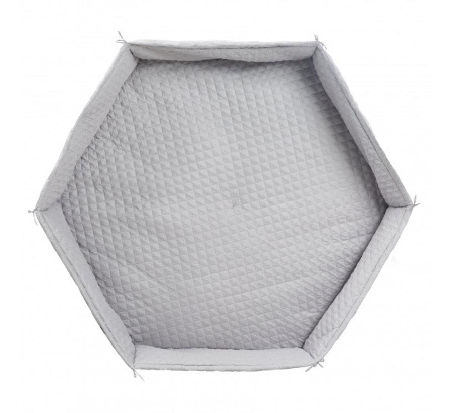 boxkleed Hexagonal junior 115 cm polyester zilvergrijs