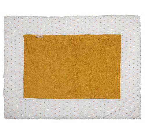 Pericles boxkleed 75 x 95 cm katoen/bamboe wit/okergeel