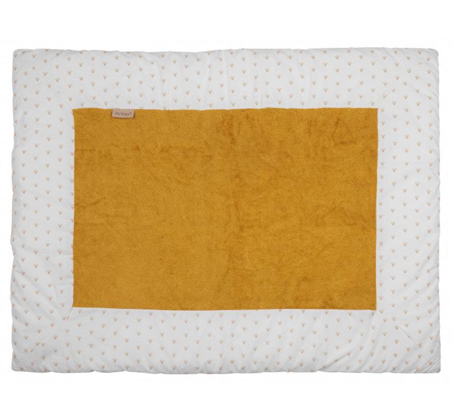 boxkleed 75 x 95 cm katoen/bamboe wit/okergeel