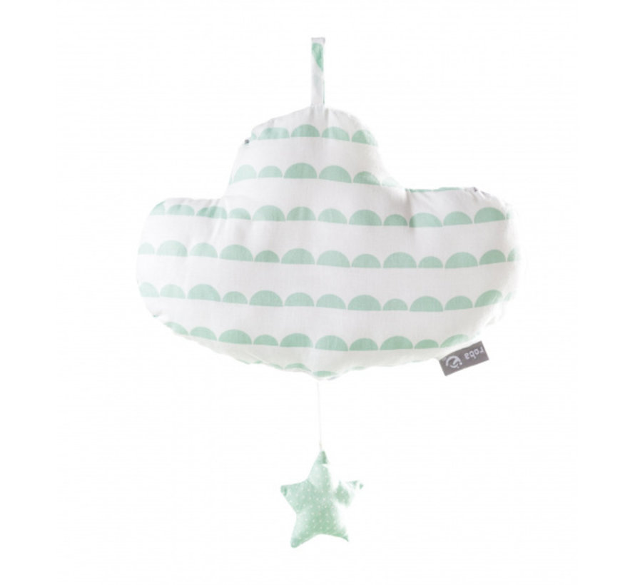 muziekdoos Happy Cloud 27 cm wit/groen