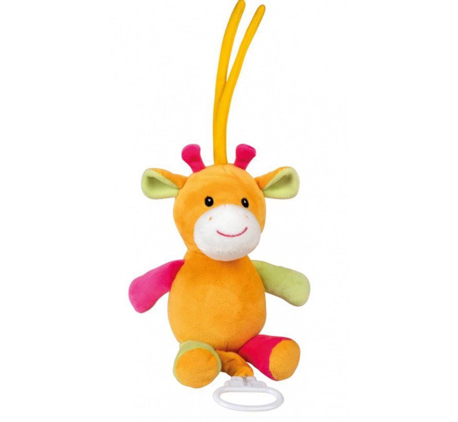 muziekknuffel giraf 18 cm pluche oranje