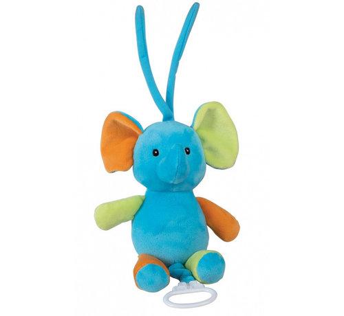 Happy People muziekknuffel olifant 18 cm pluche blauw