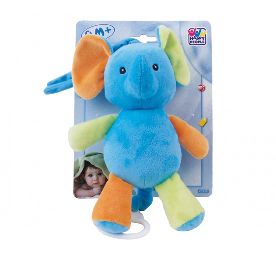 muziekknuffel olifant 18 cm pluche blauw
