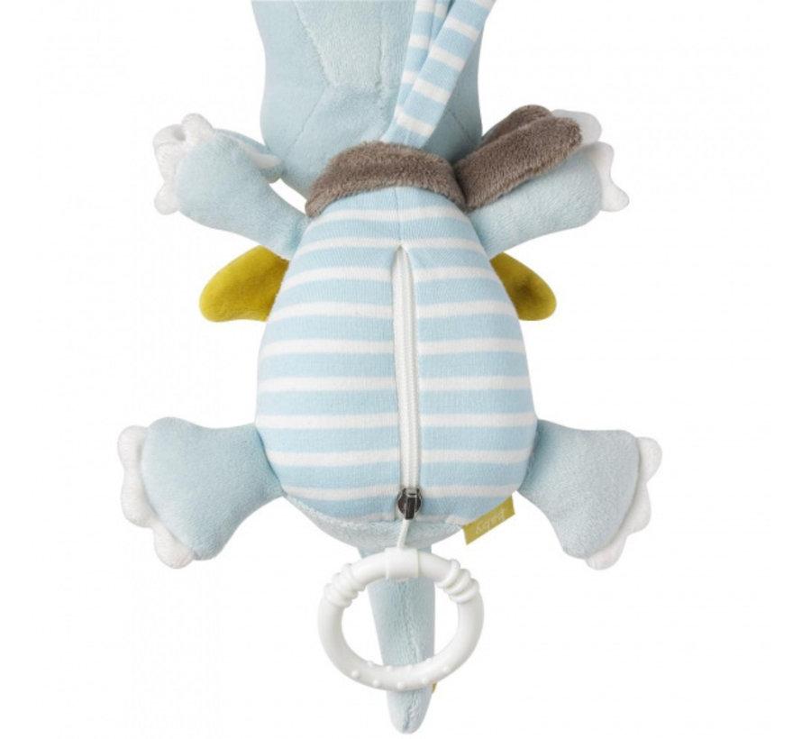 muziekdoosje Draak junior 20 cm polyester lichtblauw