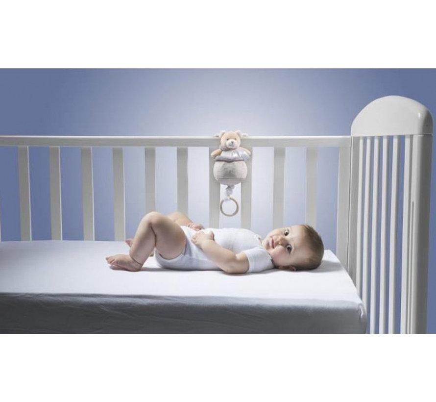 muziekdoos Teddybeer junior 9 x 21,5 cm pluche beige