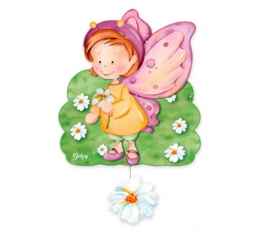 muziekdoos vlinder-fee meisjes 23 x 32 cm groen/roze hout