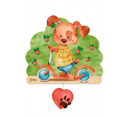 Dekori muziekdoos hond op step junior 23 x 32 cm groen/bruin hout