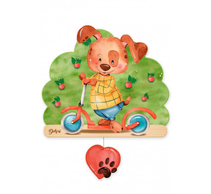 muziekdoos hond op step junior 23 x 32 cm groen/bruin hout