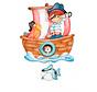 muziekdoos piratenboot junior 23 x 32 cm rood/bruin hout