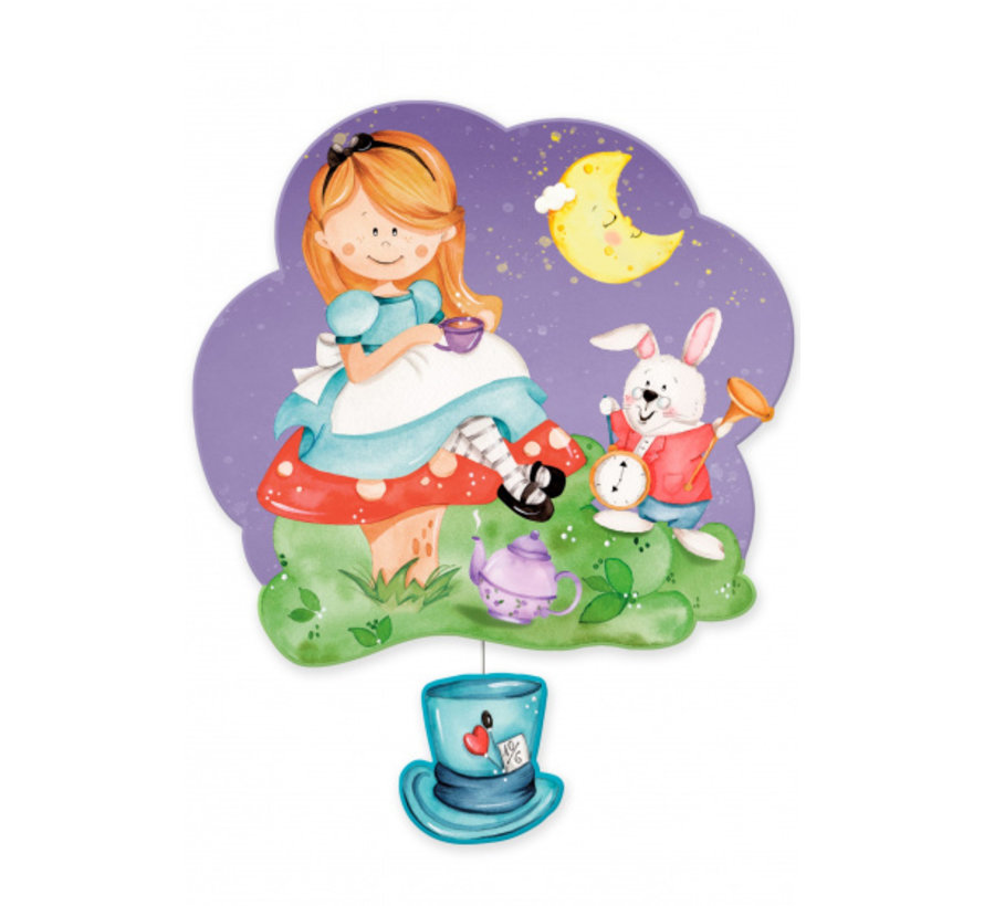 muziekdoos Alice in wondeland junior 23 x 32 cm paars hout