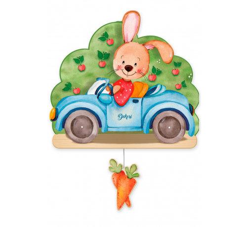 Dekori muziekdoos konijn in auto junior 23 x 32 cm blauw hout