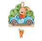 muziekdoos konijn in auto junior 23 x 32 cm blauw hout