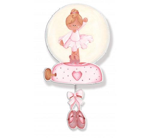 Dekori muziekdoos ballerina meisjes 20 x 38 cm hout roze/wit