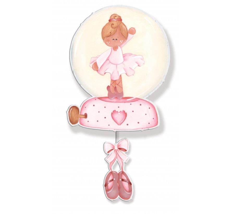 muziekdoos ballerina meisjes 20 x 38 cm hout roze/wit