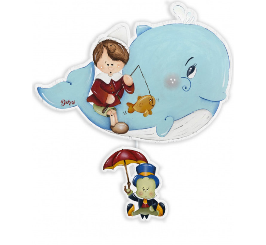 muziekdoos Pinokkio junior 28 x 36 cm blauw hout