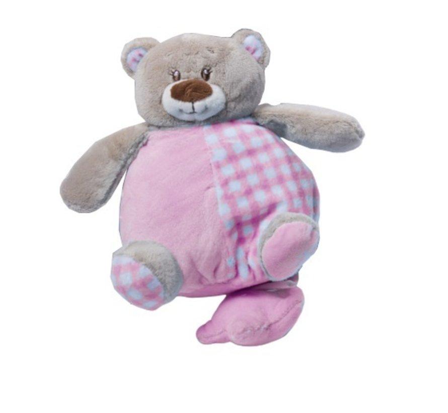 muziekknuffel 24 cm knuffelbeer roze