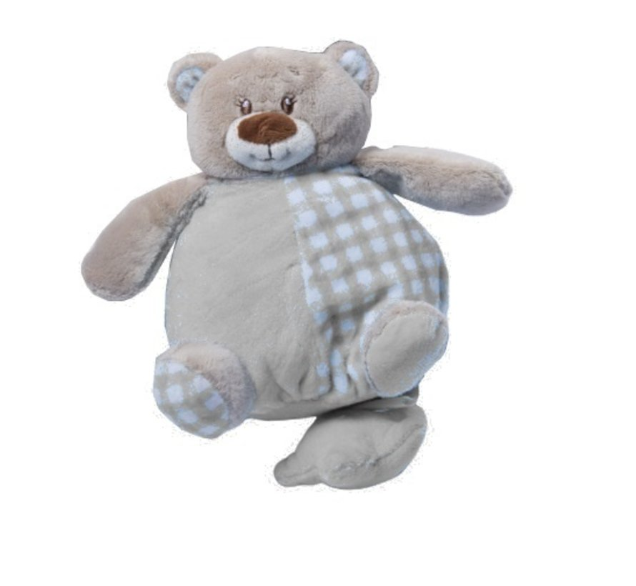 muziekknuffel 24 cm knuffelbeer grijs