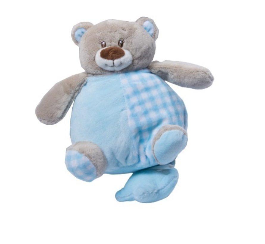 muziekknuffel 24 cm knuffelbeer blauw