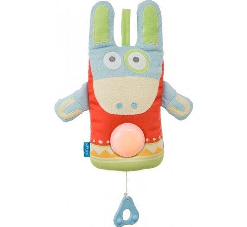 Taf Toys muziekdoos Ezel met nachtlamp junior 42 cm multicolor