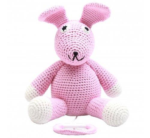 natureZOO muziekdoosje konijn gehaakt 20 cm roze