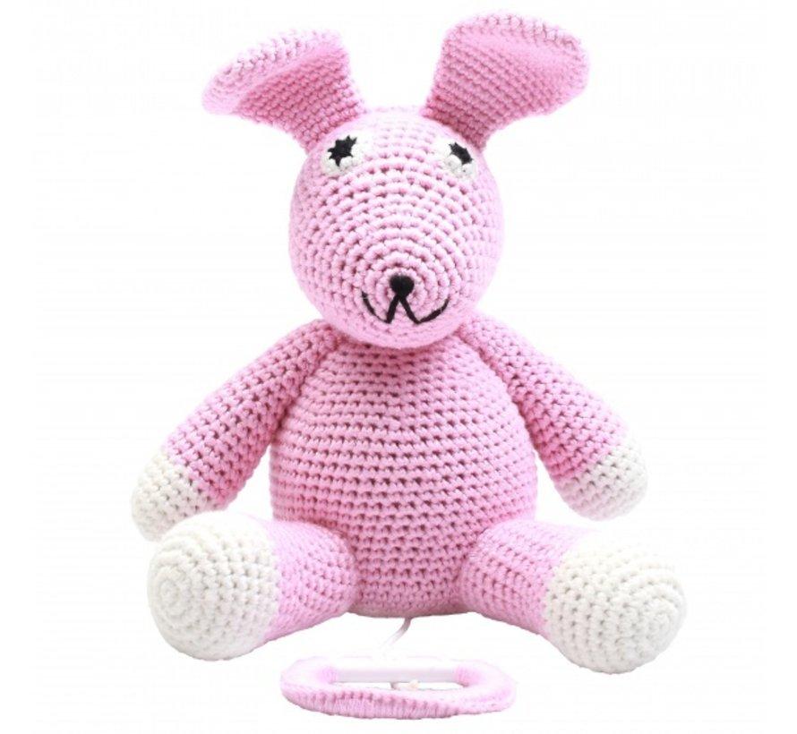 muziekdoosje konijn gehaakt 20 cm roze