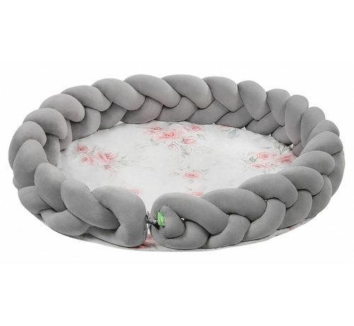 Lulando speelmat junior 100 cm polykatoen lichtgrijs/wit/roze