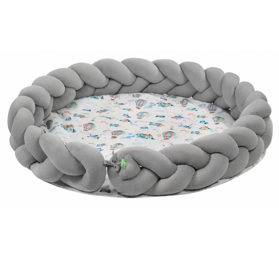 speelmat junior 100 cm polykatoen lichtgrijs/wit