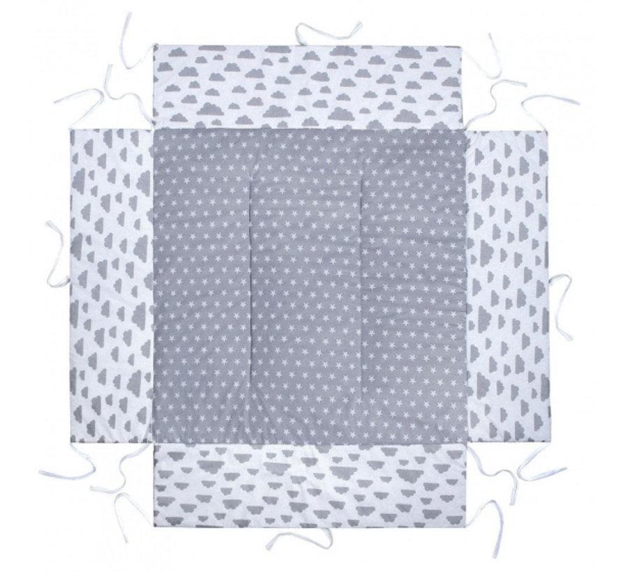 boxkleed junior 100 x 100 cm katoen grijs/wit/zilver