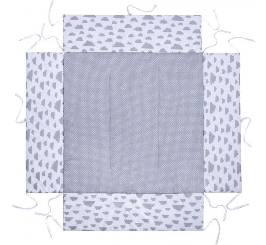 boxkleed junior 100 x 75 cm katoen lichtgrijs/wit