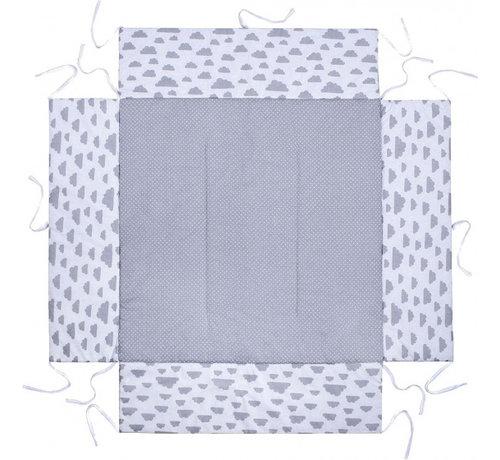 Lulando boxkleed junior 100 x 100 cm katoen lichtgrijs/wit