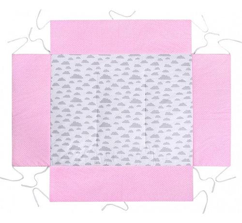 Lulando boxkleed junior 100 x 75 cm katoen roze/lichtgrijs
