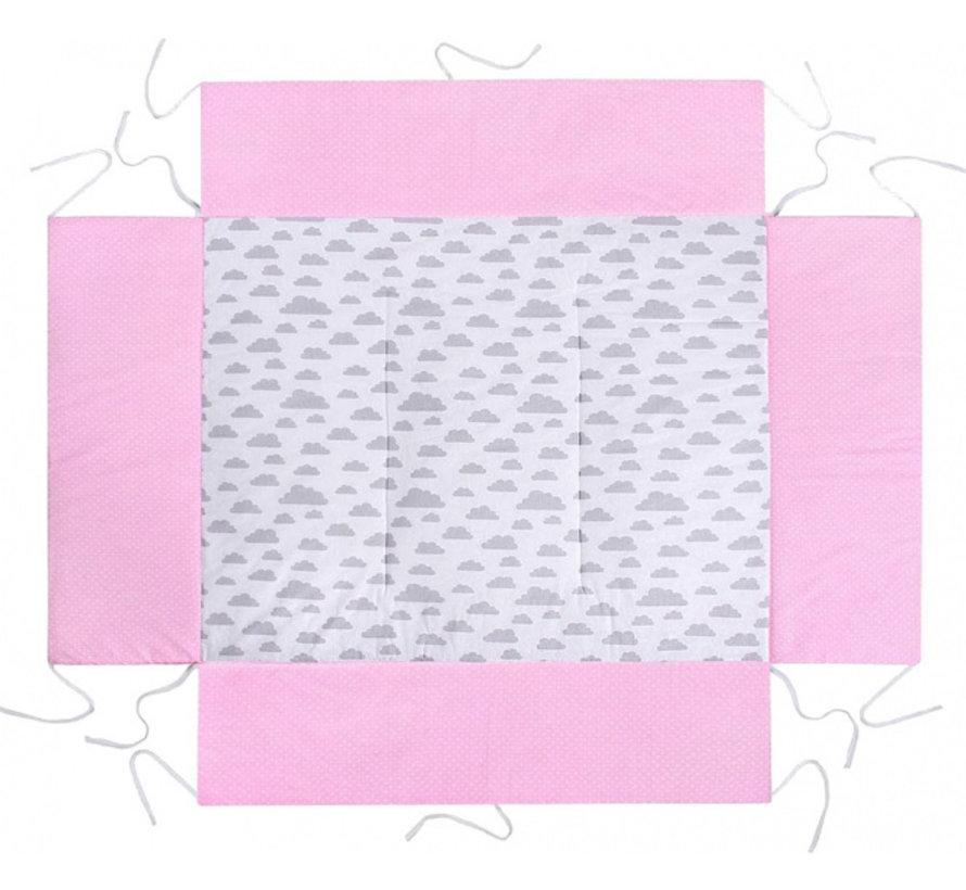 boxkleed junior 100 x 75 cm katoen roze/lichtgrijs