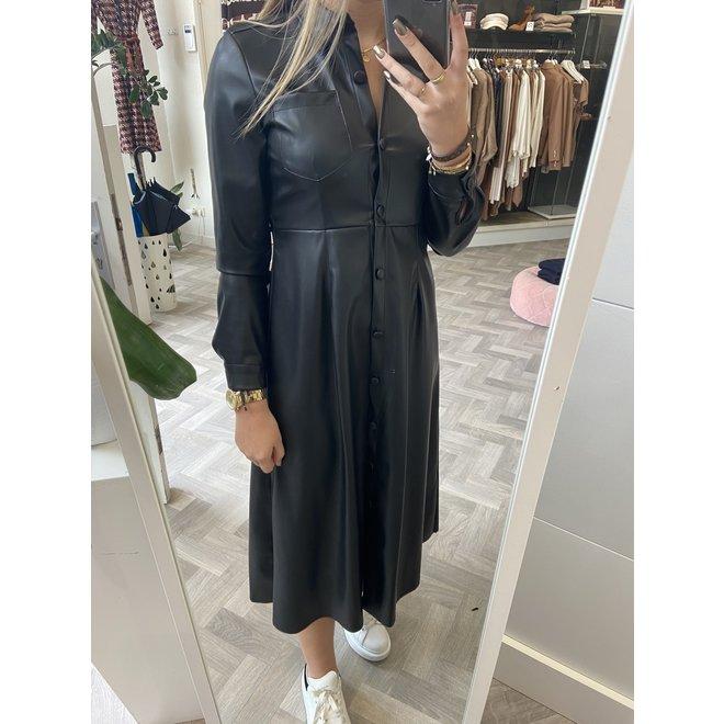 LEATHERLOOK DRESS BLACK