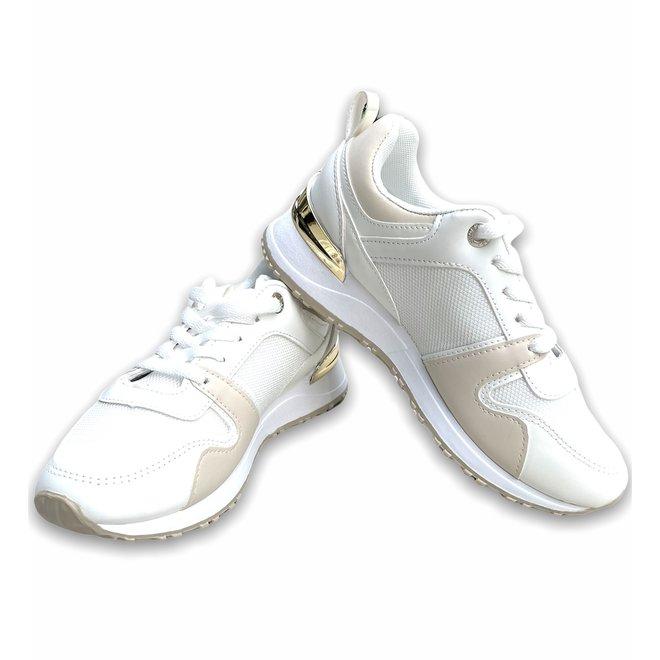 SNEAKER SL022 WHITE/BEIGE/GOLD