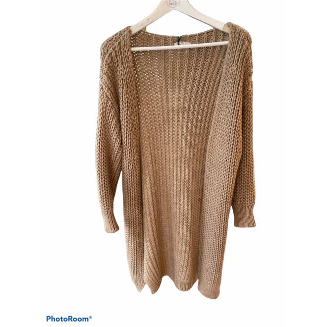 VEST KNITTED LONG TAUPE