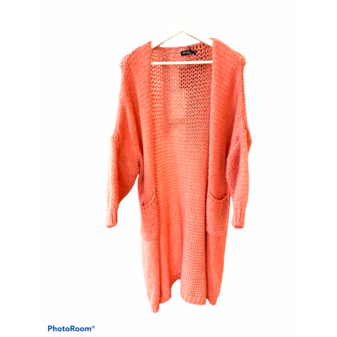 VEST KNITTED LONG CORAL