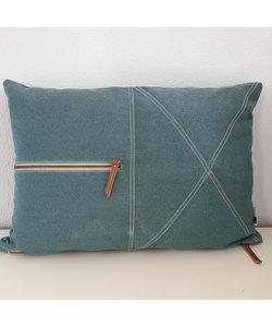 Kussen canvas zip 35x55 cm petrol blauw