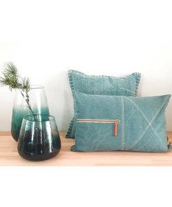 Vaas Cocoon Dark Green glas handmade 31 cm hoog